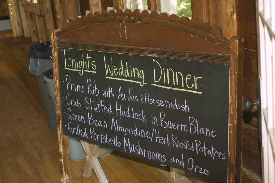 Quimby Country Lodge & Cottages: Dinner Menu