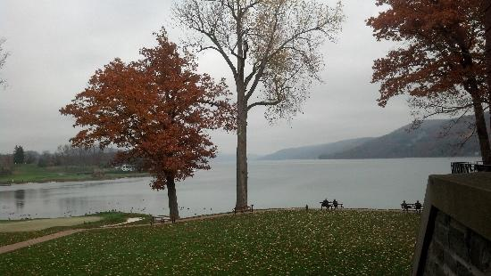 The Otesaga Resort Hotel: view from front veranda over glimmerglass