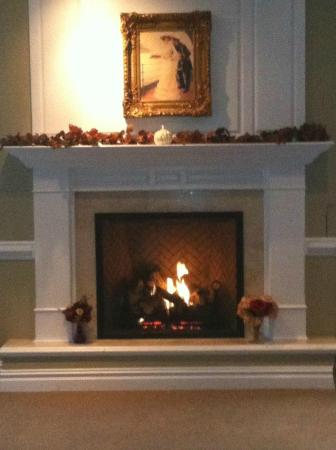 Corbin City, NJ: Our beautiful fireplace in our private dining room. Perfect for weddings