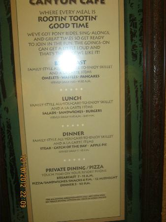 Boulder Ridge Villas at Disney's Wilderness Lodge: menu in Wispering canyon