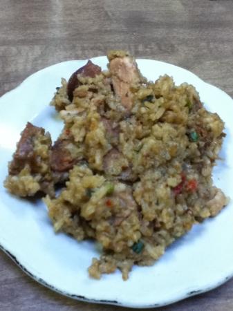Victor's Cafeteria: pork & sausage jambalaya