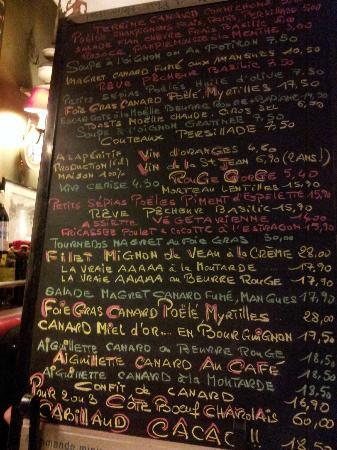 Les Deux Canards: Il menu sulla lavagna