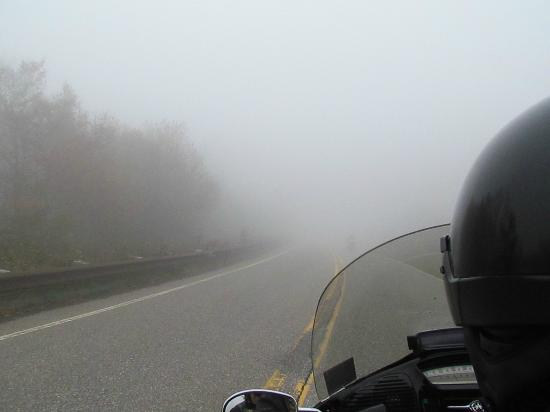 North Carolina Mountains, NC: Low visibility in the clouds.