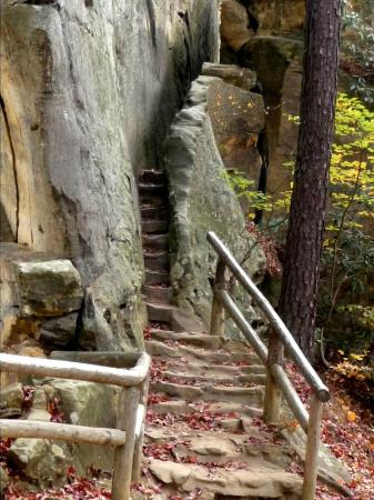 Natural Bridge State Resort Park: Stairs/passageway between top and underneath the Bridge