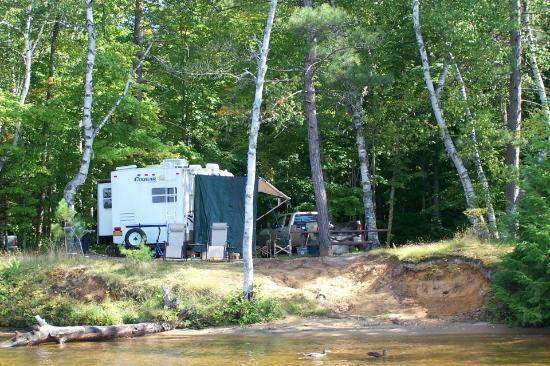 Fish Creek Pond Campground: Our campsite from the water