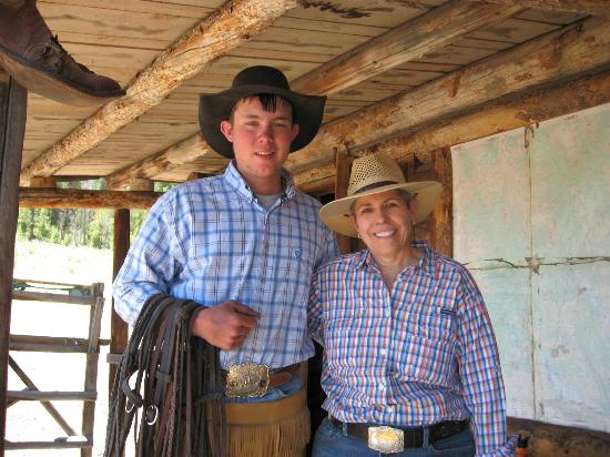 T Cross Ranch: Me and Colten, one of the wranglers and very sweet young man.