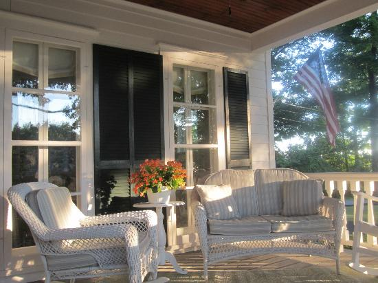 The front porch of the inn is the ideal spot to begin or end your day.