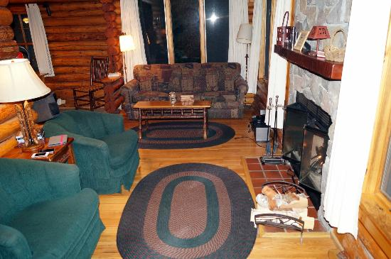 Bearskin Lodge: Fireplace and living area Cabin 5