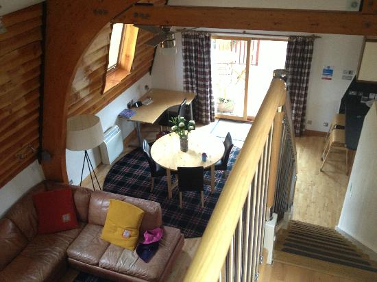 Hebridean Luxury Holidays: Looking down on the open plan living area