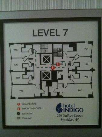 Hotel Indigo: Here is the floorplan--I was in room 705--it did not have an adjoining door to 706