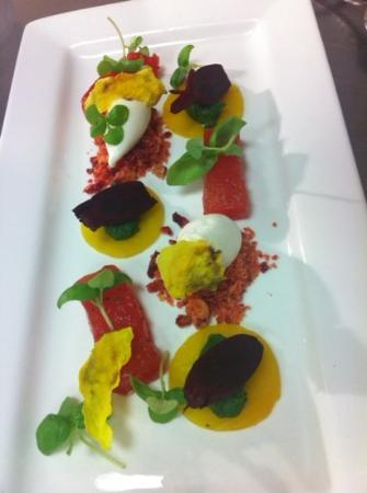 Forest Hotel: baked beets with frozen ewes cheese