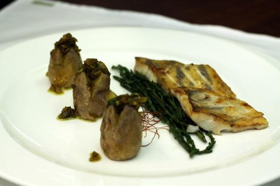 "Palazzo Restaurant: Pan seared pike perch served with samphire, ""papas arrugadas"" and sauce vierge"