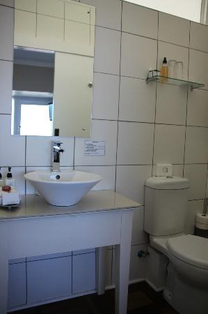 Hermanus Beach Villa: Bathroom with reminder to save water