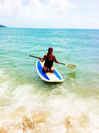 Samui Paddleboard, Windsurf & Yoga SUP: stand up paddle boarding (well...kneeling at the moment!)