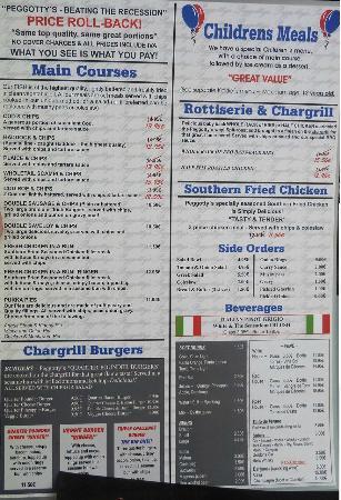 Peggotty's Finest Fish & Chips: menu