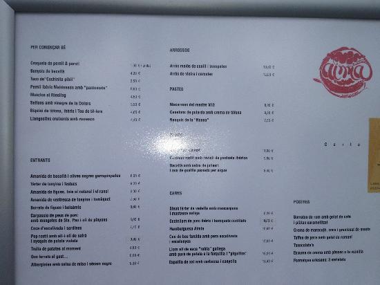 Aimia: carta del restaurante