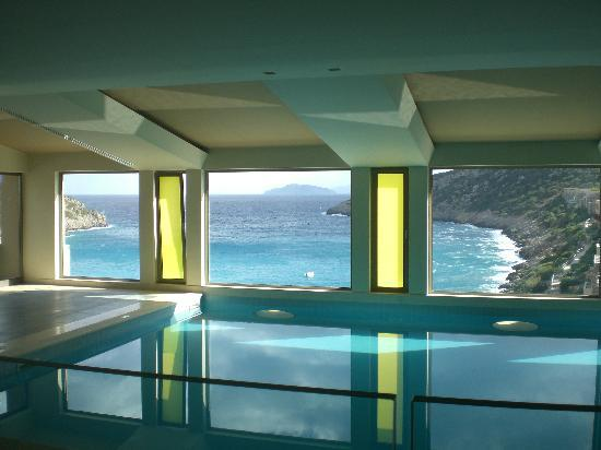 Daios Cove Luxury Resort & Villas: Stunning view from spa area indoor pool