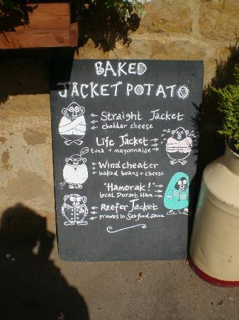 """The Old School House Tea Rooms: Amusing baked """"spuds"""""""
