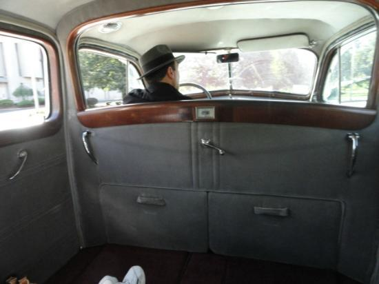 Antique Limousine - Boston Tours: Roomy interior with tufted back seat with doillies on the arms and window curtails...what class!