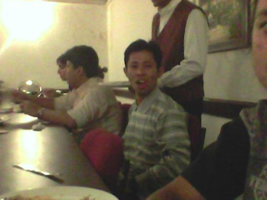 Hotel Chalet: Eating supper with my friends