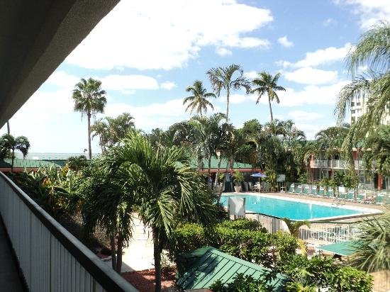 Wyndham Garden Fort Myers Beach: View of pool and tiki bar from our room on second floor.