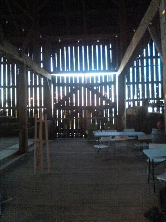By Chadsey's Cairns Winery and Vineyard : View inside the barn during the harvest