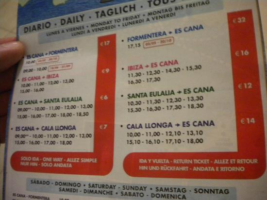 El Cortijo: Ferry charges