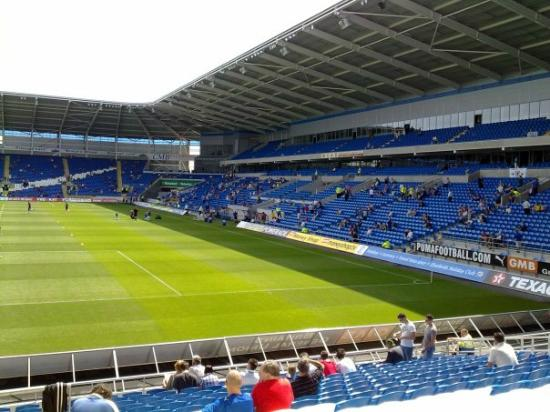 View from the Canton Stand of the Grandstand at Cardiff City Stadium