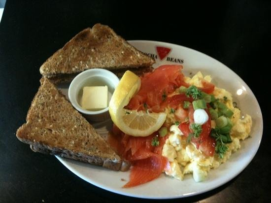 Mocha Beans: Scrambled Eggs and Smoked Salmon