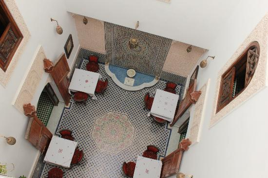 Dar Fes Medina: View of courtyard from the room