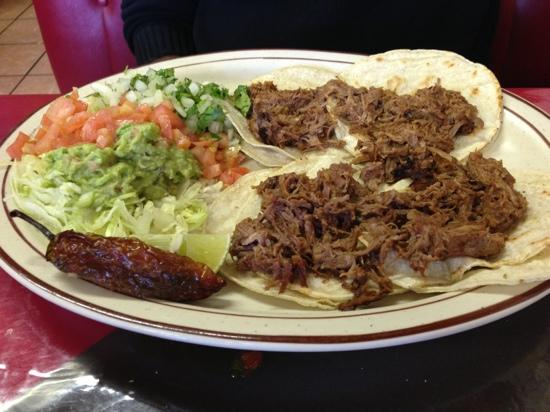 Jorge's Cafe: 4 shredded beef tacos--delicious!