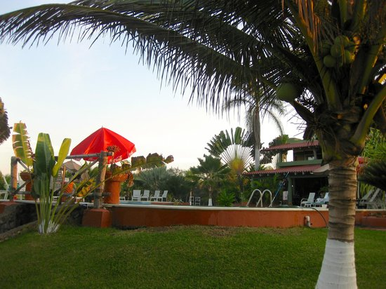 Majahua Palms: View of pool, grounds and restaurant
