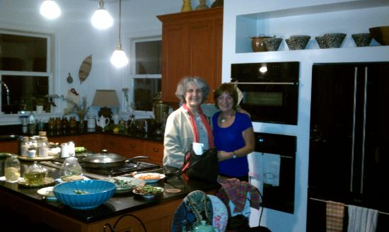 Bev with Shadi in the Kismet Inn's gogeous kitchen.