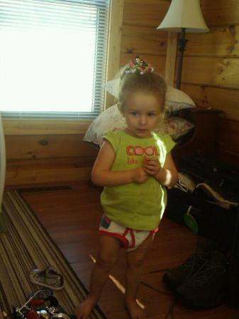 Copperhead Lodge: Daughter in Cabin Living Area (full kitchen!)