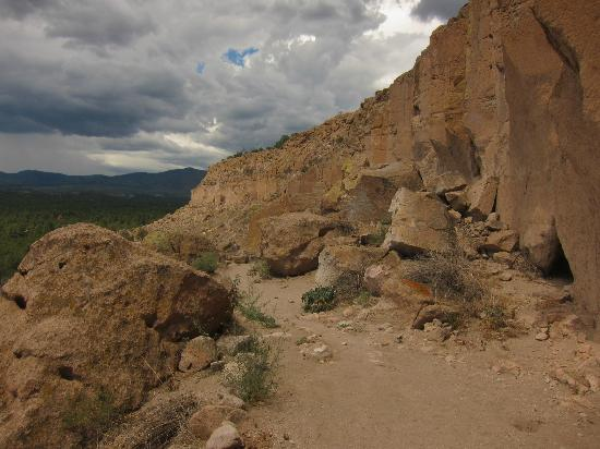 Puye Cliff Dwellings: View of the cliff dwellings from the tour path