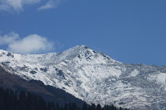 Rock Manali Hotel & Spa: Close-up of one of the peaks seen from the room.