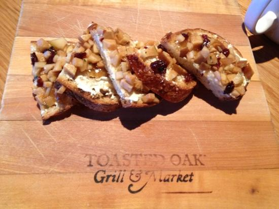 Toasted Oak Grill & Market: Brunch Fruit Bruschetta with Zingerman's Goat cheese.