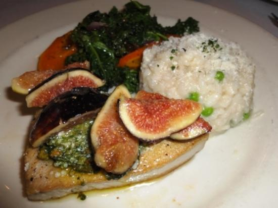 Caffe Delucchi - tuna with fig, risotto, and sateed spinach