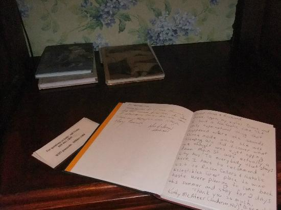 "Victorian Rose: Visitors Book in ""Wisteria Gardens"" Room"