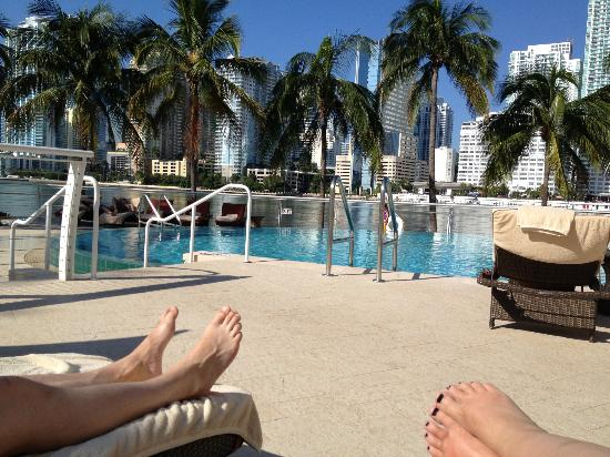 Mandarin Oriental, Miami: View from sun lounger in pool area.