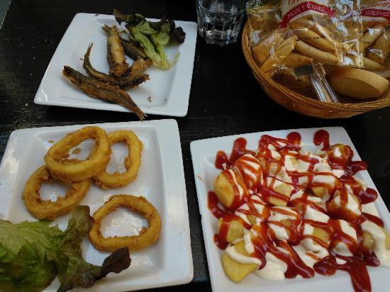 Casa Carmelo Tapas & Sevillian Gastronomy: Grilled fish, Calamari, Patatas Bravas