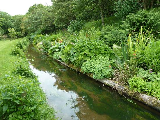 Docton Mill Gardens & Tea Rooms: The leat, and its flower borders