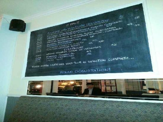 Les Copains d'abord: one of several black boards around dining room with wine menu.