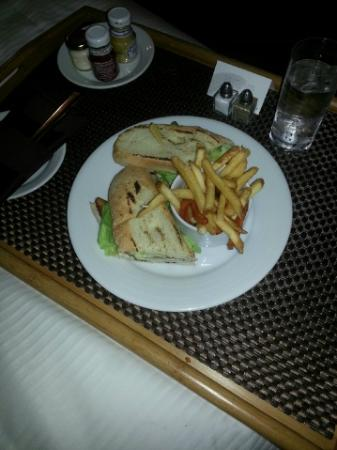 Le Westin Montreal: Chicken Club sandwich ordered via Room Service (fries, garden salad or caesar).