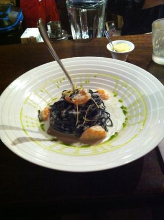 Cicciolina: squid ink taglioni with prawns