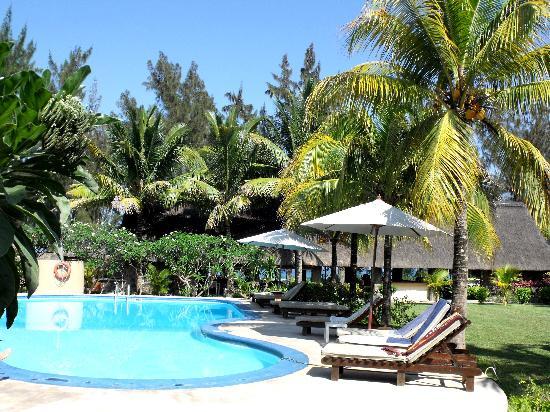 Villas Mon Plaisir: la piscine entourée du jardin et des palmiers