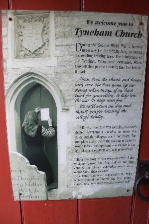 Tyneham: Notice left on door of church by residents