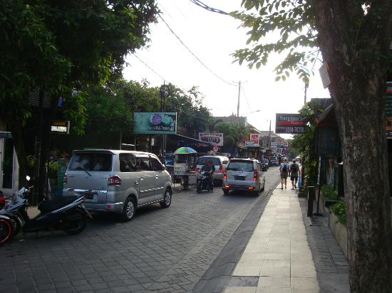 The Lokha Legian: Looking down the street from hotel
