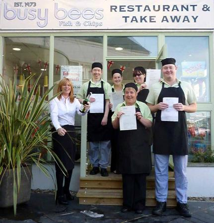 Busy Bees Restaurant & Takeaway: Staff celebrating their NVQ Level 2 in Customer Service