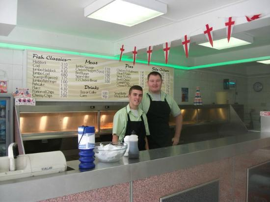 Busy Bees Fish Bar: Interior pictures with Manager Darren and assistant Ashley